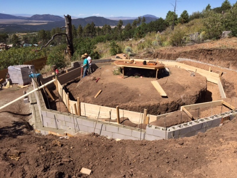 Constructing outer foundation stem walls on newly poured footing
